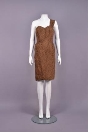 FRENCH RUCHED SINGLE SHOULDER COCKTAIL DRESS, 1950s