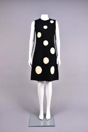FRENCH DOTTED WOOL DAY DRESS, 1960s.