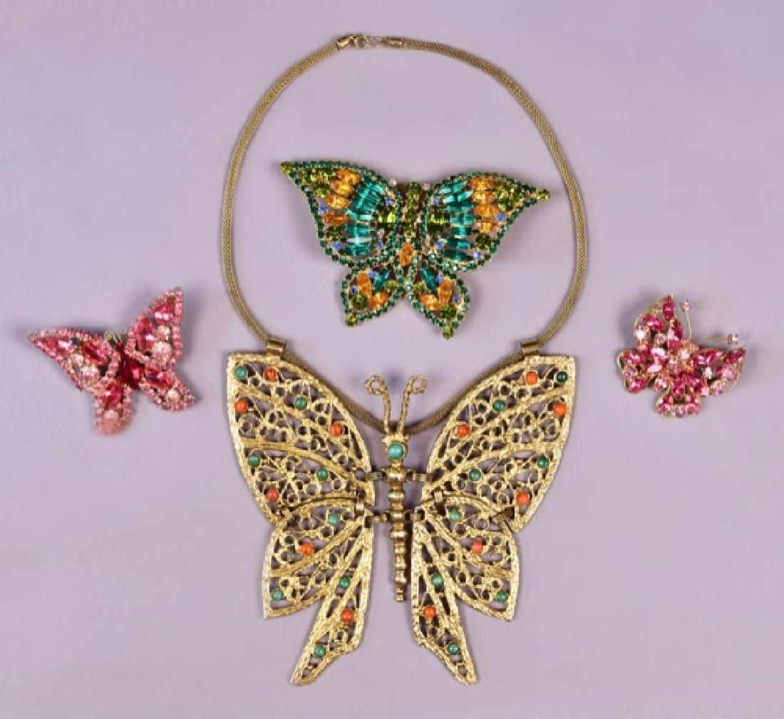 FOUR PIECES VINTAGE BUTTERFLY COSTUME JEWELRY
