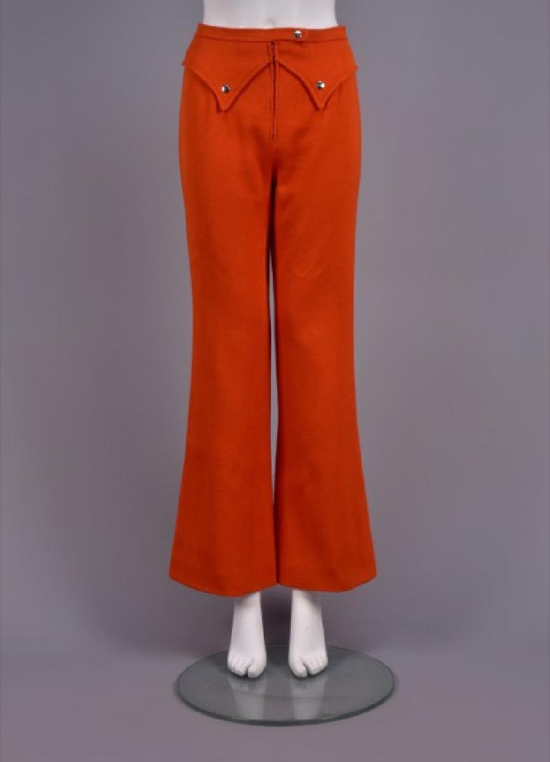 COURREGES ORANGE WOOL TROUSERS, 1970s