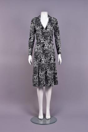 DIANE VON FURSTENBERG DUFY WOODCUT PRINT DRESS, 1970s.