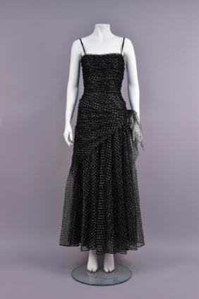 YVES SAINT LAURENT COUTURE  METALLIC NET EVENING DRESS,