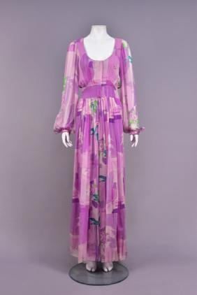STAVROPOULOS PRINTED CHIFFON GOWN, c. 1970