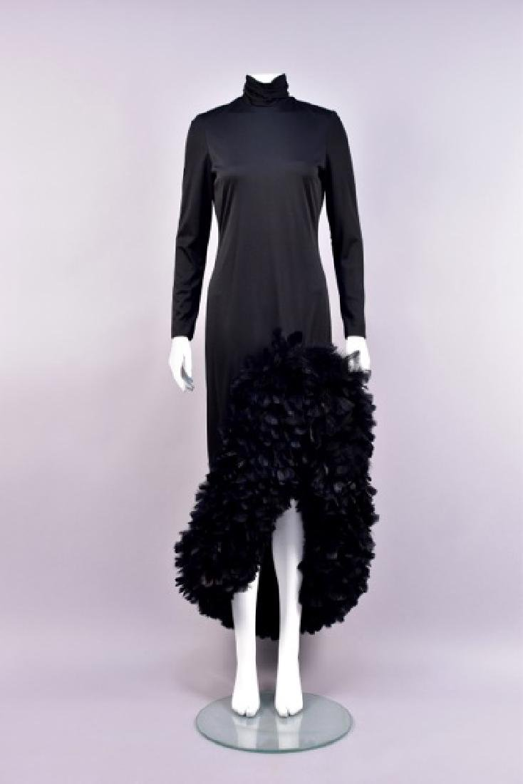 LILLI DIAMOND FEATHER-TRIMMED EVENING DRESS, 1970s
