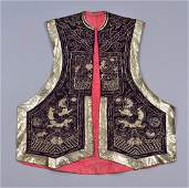 CHINESE EMBROIDERED WAISTCOAT 19th  20th C