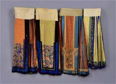 FOUR CHINESE SILK SKIRTS PANELS, EARLY 20th C