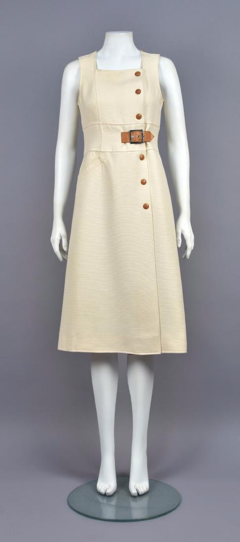 COURREGES LEATHER TRIMMED DAY DRESS, 1960s