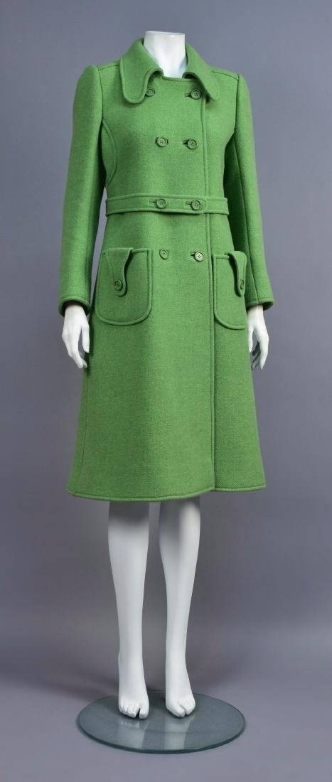COURREGES GREEN WOOL COAT, 1970s