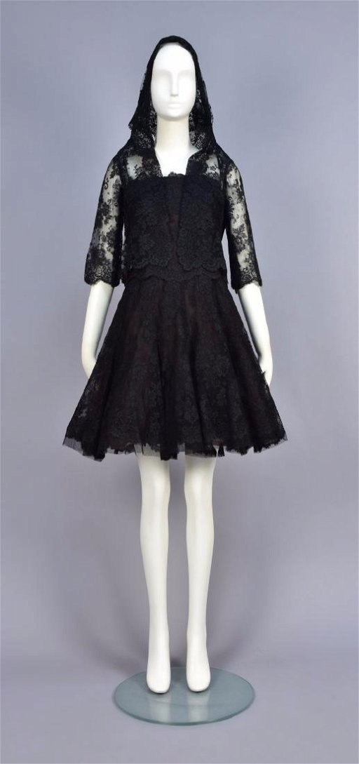 Christian Dior Lace Dress And Hooded Jacket 1960s