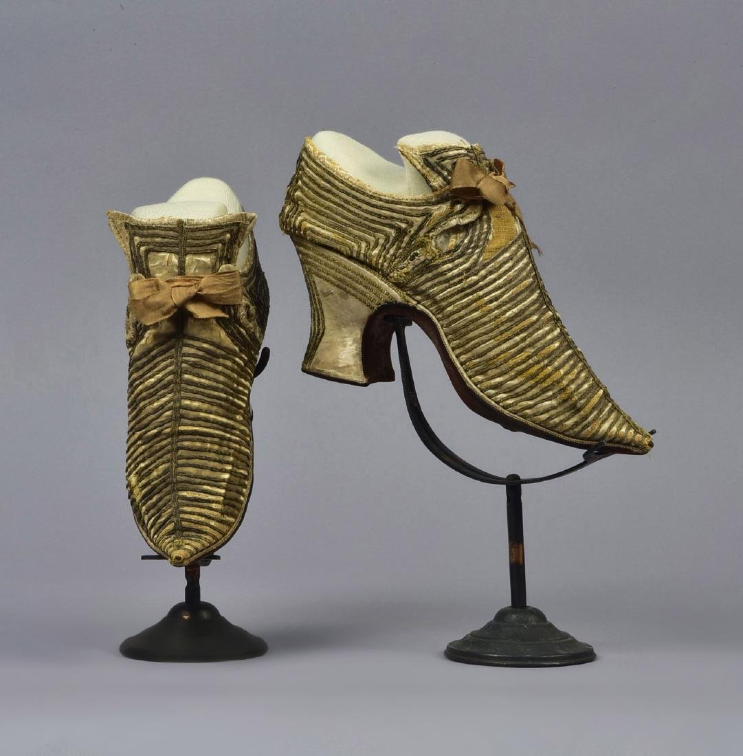 CREAM SATIN SHOES with GOLD BRAID, 1680 - 1700