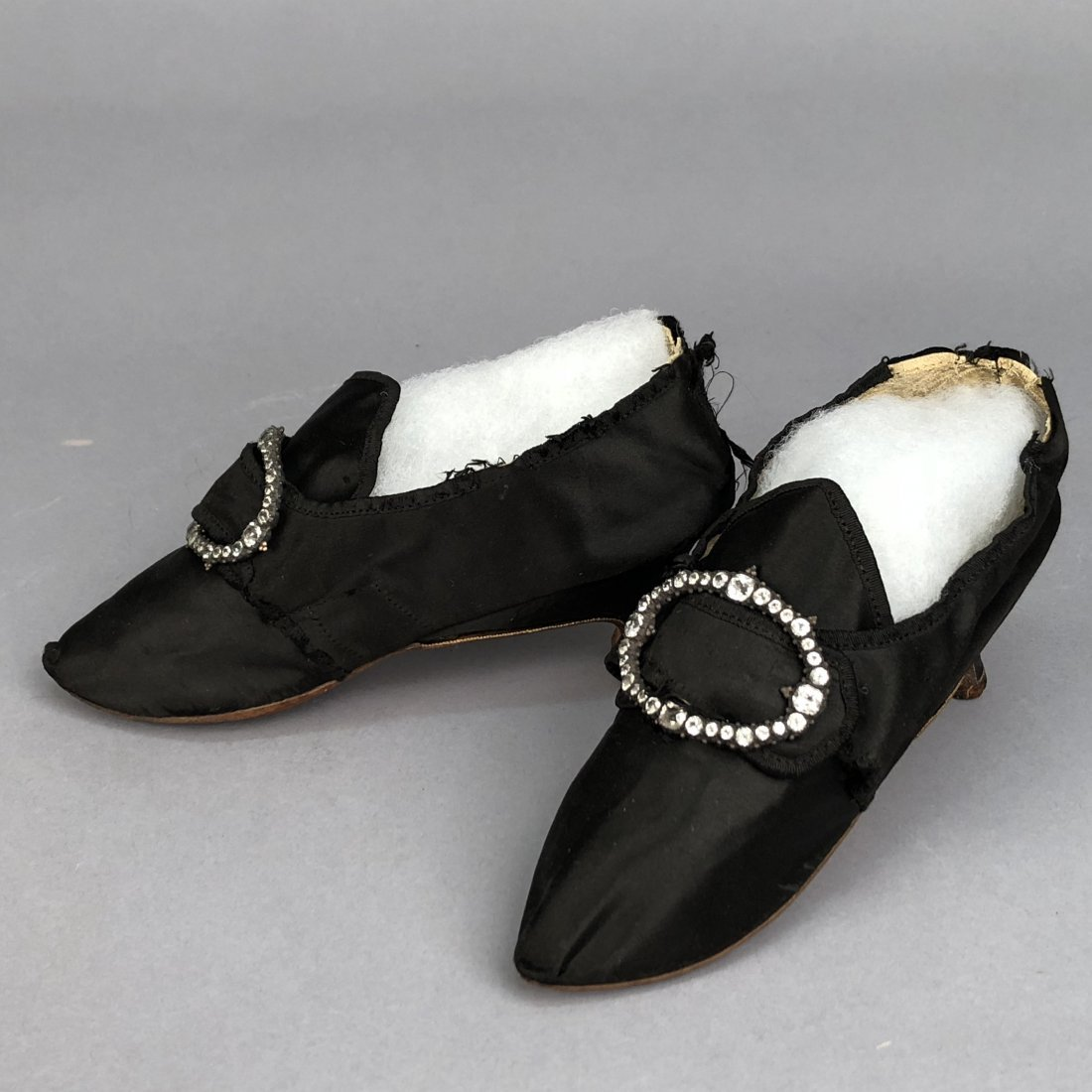 SATIN SHOES with DIAMANTE BUCKLES, 1770s