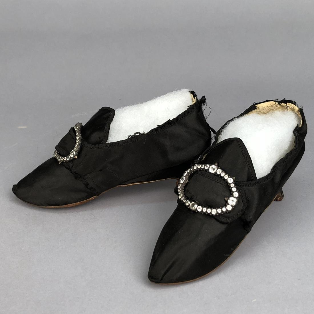 SATIN SHOES with DIAMANTE BUCKLES, 1770s - 2