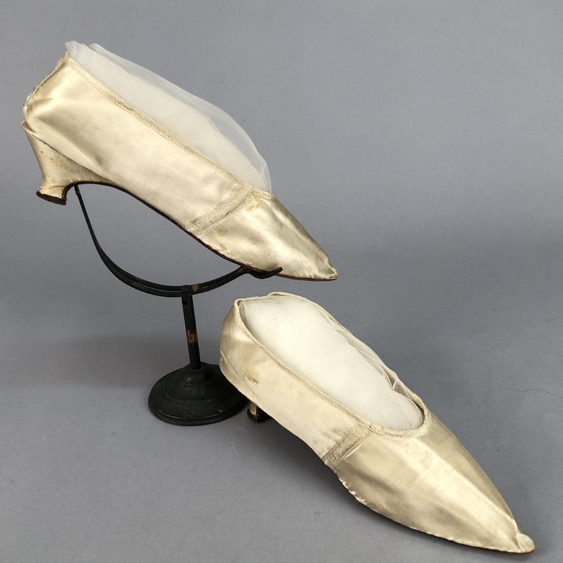 WHITE SATIN PUMPS, c. 1790
