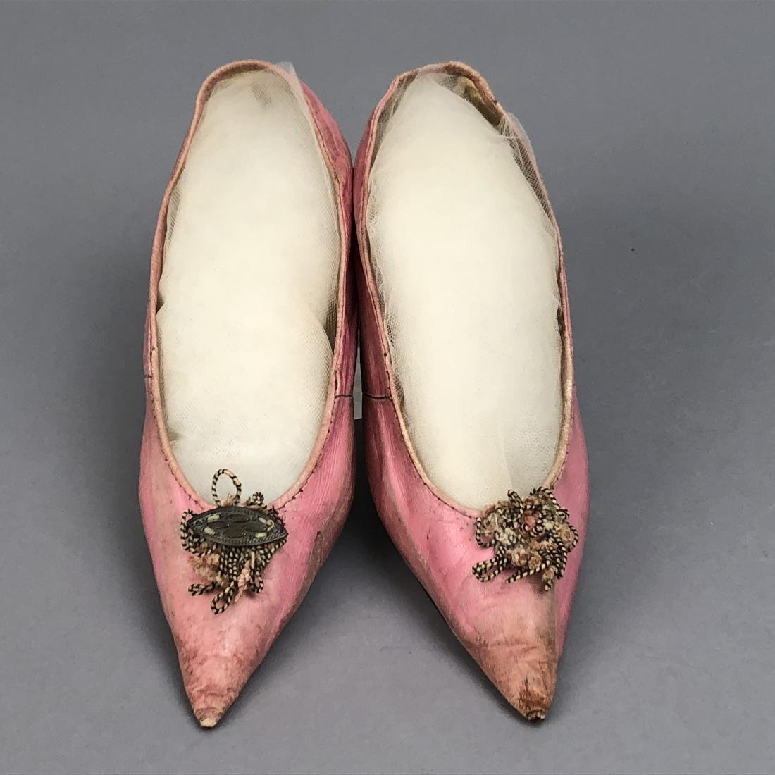 PINK KID SHOES with CORD DECORATION, LATE 1790s