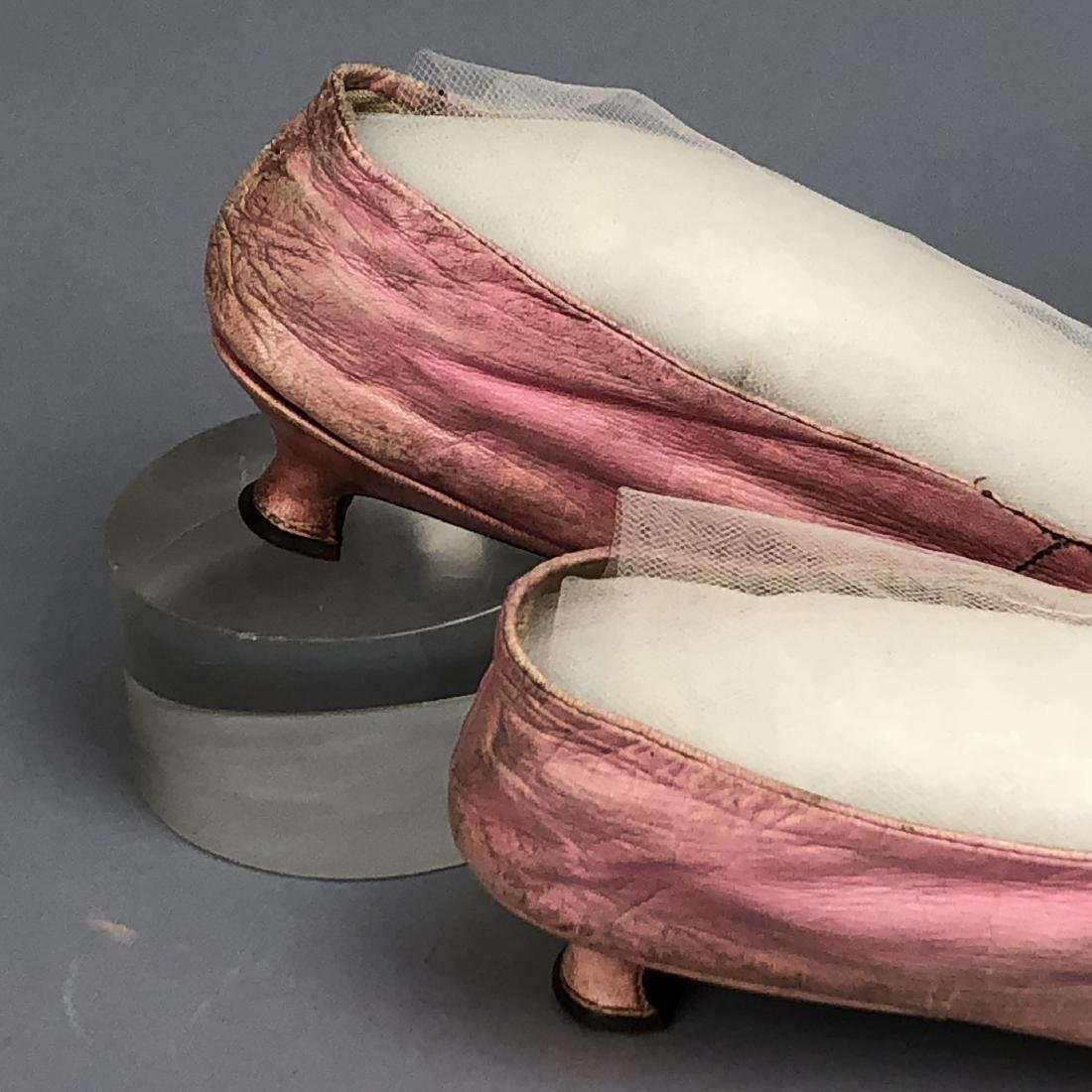 PINK KID SHOES with CORD DECORATION, LATE 1790s - 2