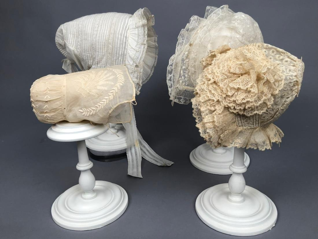 THREE LAWN and LACE CHILDREN'S CAPS 1790 - 1840
