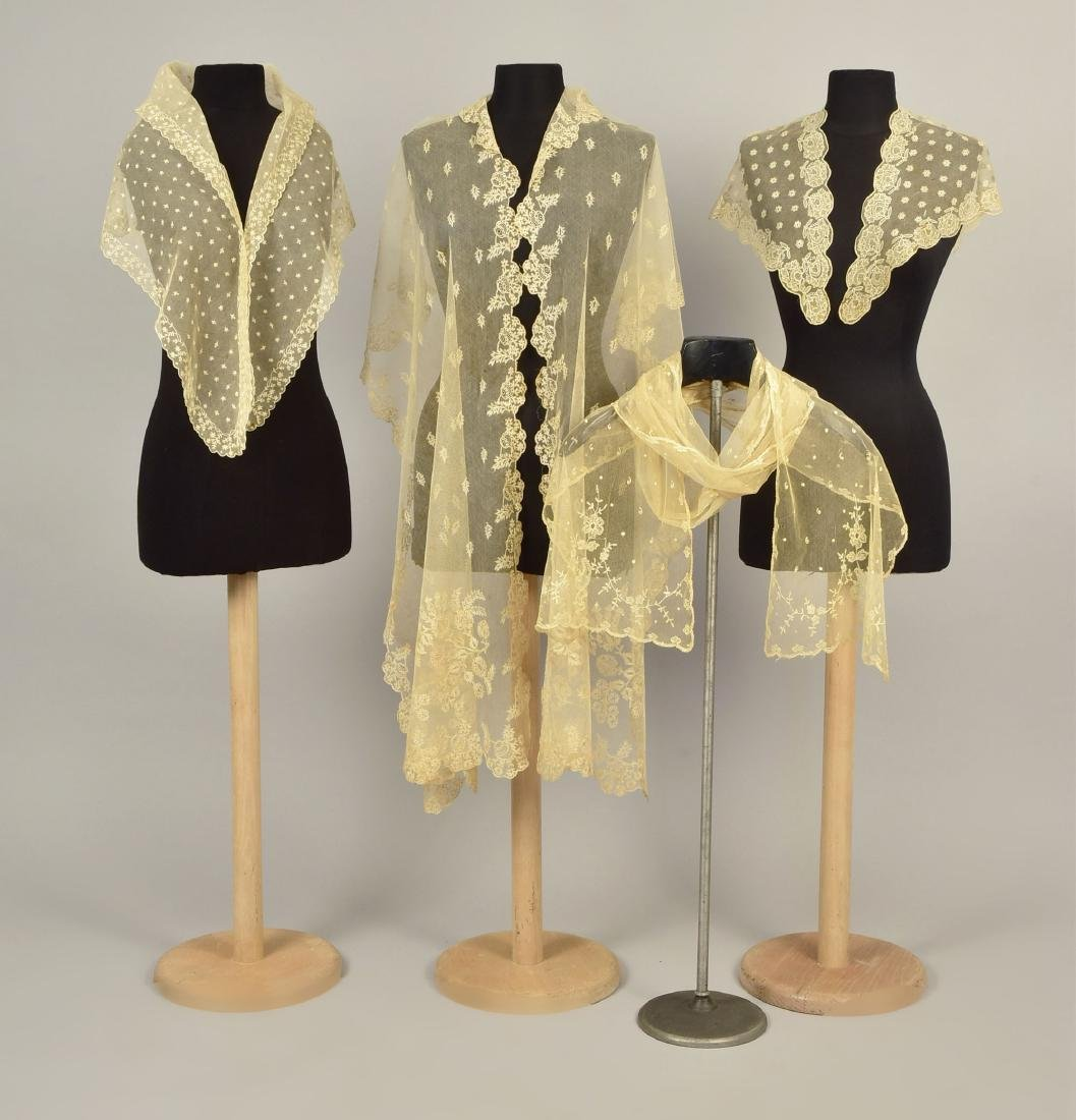 FOUR LADIES' EMBROIDERED CREAM NET ACCESSORIES, 1790 -