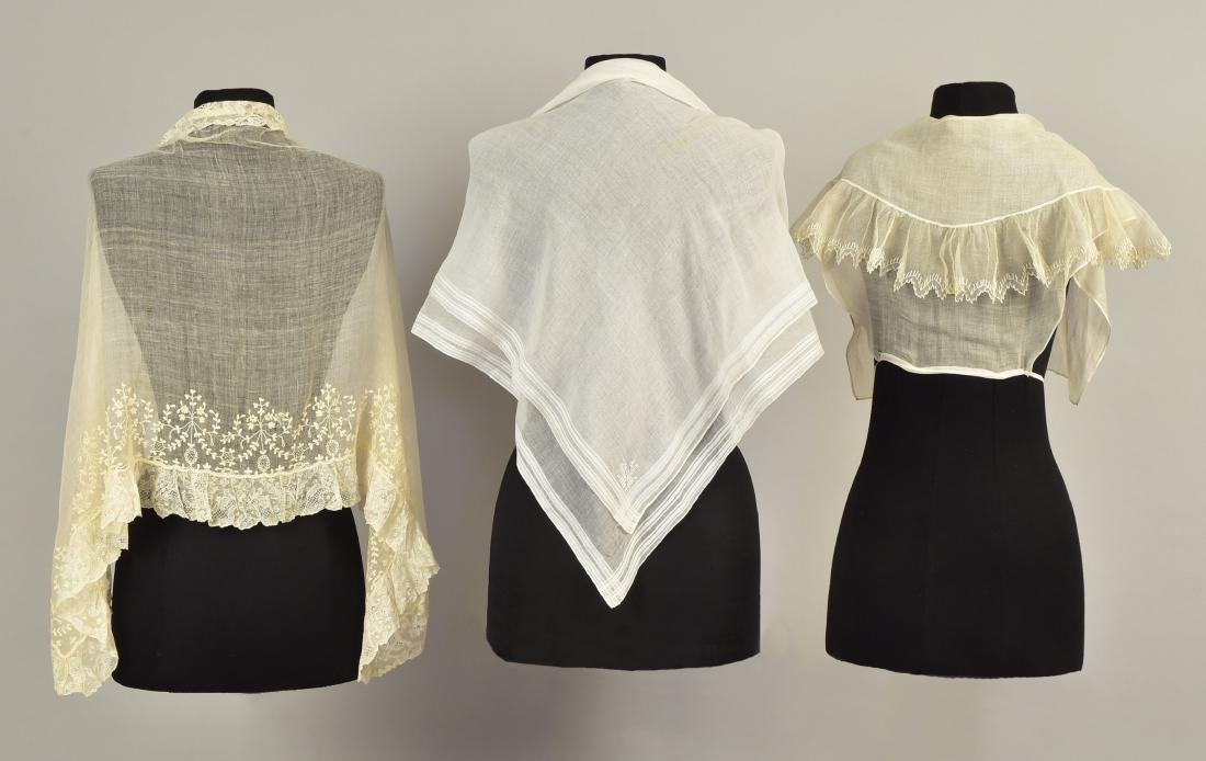 THREE LADIES' WHITE COTTON ACCESSORIES, 18th C - 1840