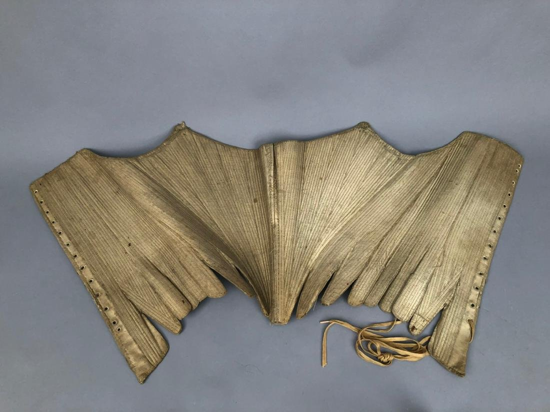 EARLY OFF-WHITE LINEN CORSET, 1740s