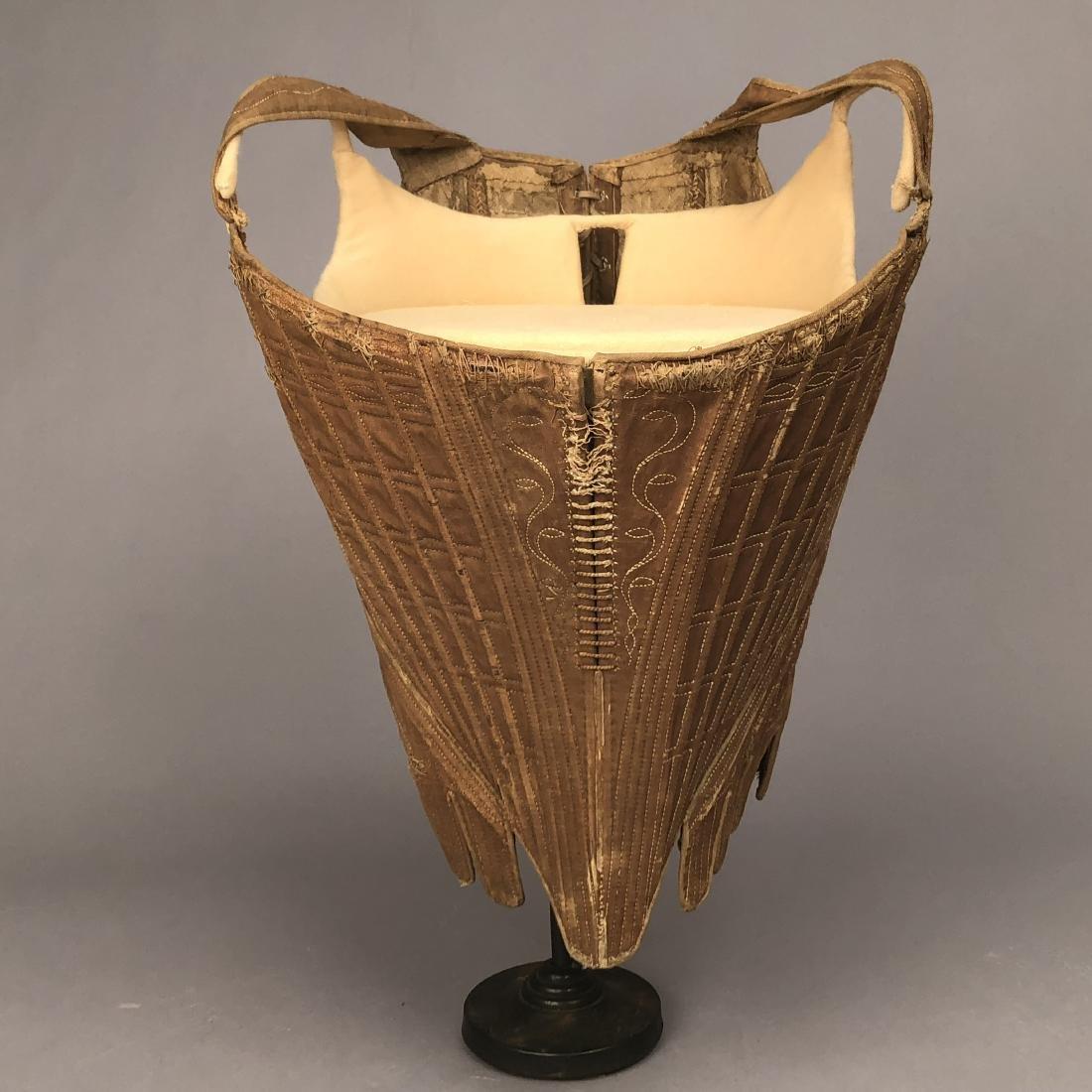 RARE LATTICE-BONED BROWN LINEN CORSET, 1770s - 1780s