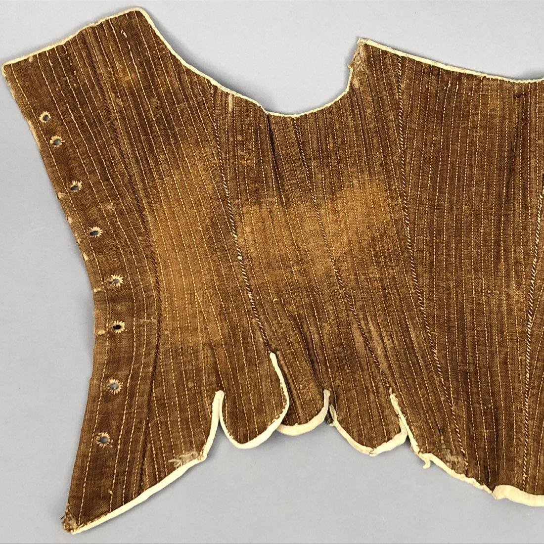 AMERICAN BROWN LINEN CORSET, 1780 - 3