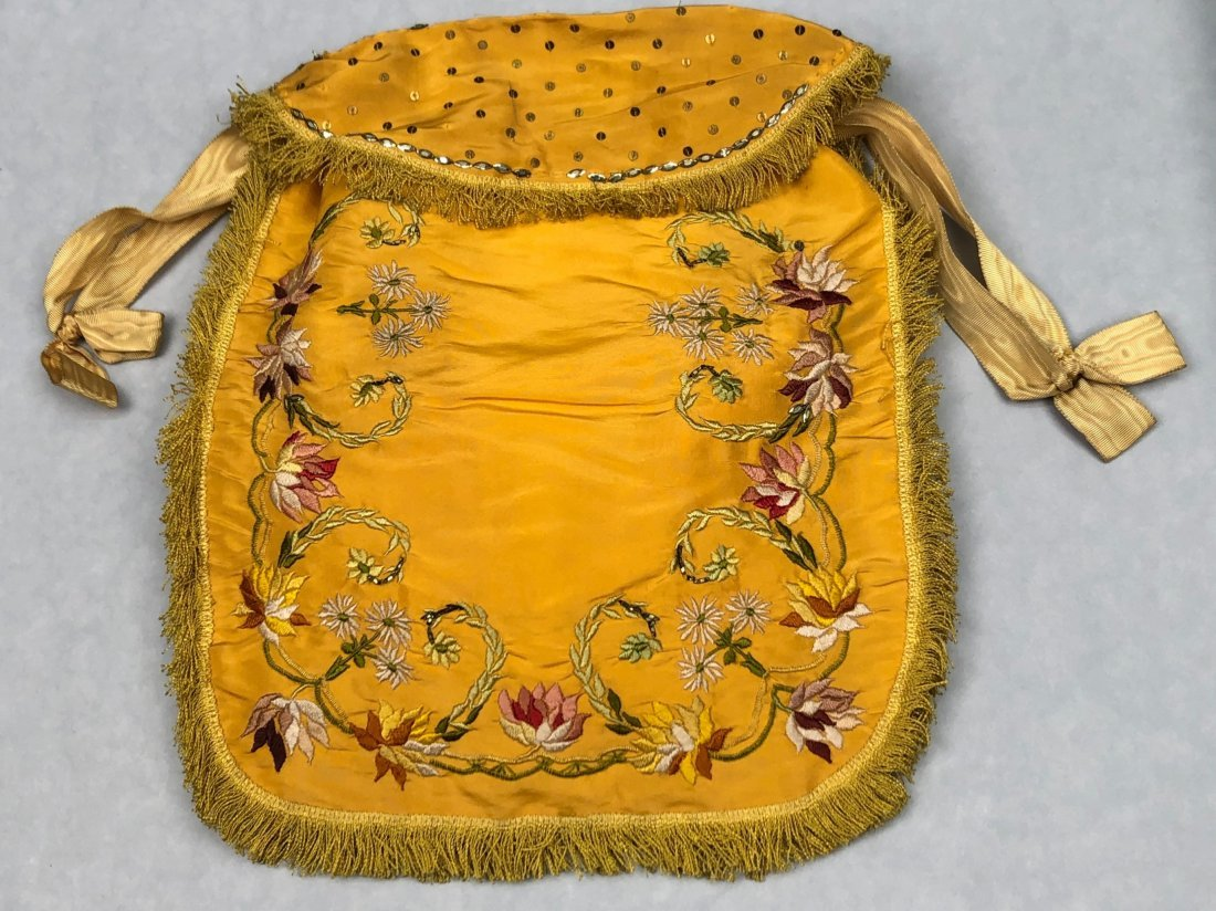 LARGE EMBROIDERED SILK BAG with SPANGLES, 1770 -1800
