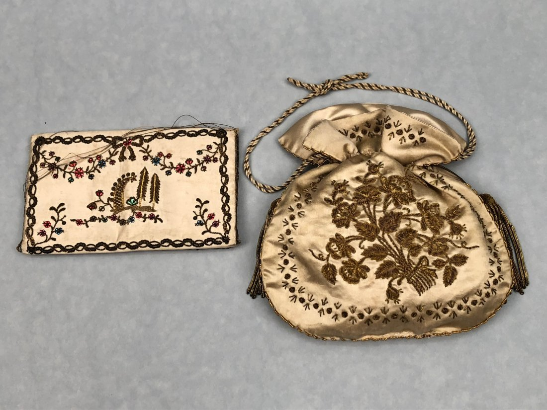 TWO METALLIC EMBROIDERED SATIN PURSES, 1790s and c.