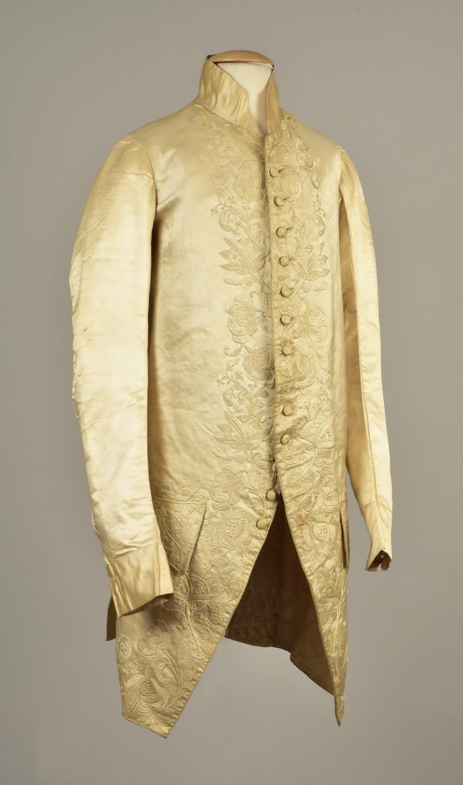 GENTLEMAN'S SATIN EMBROIDERED WEDDING COAT, 1740s