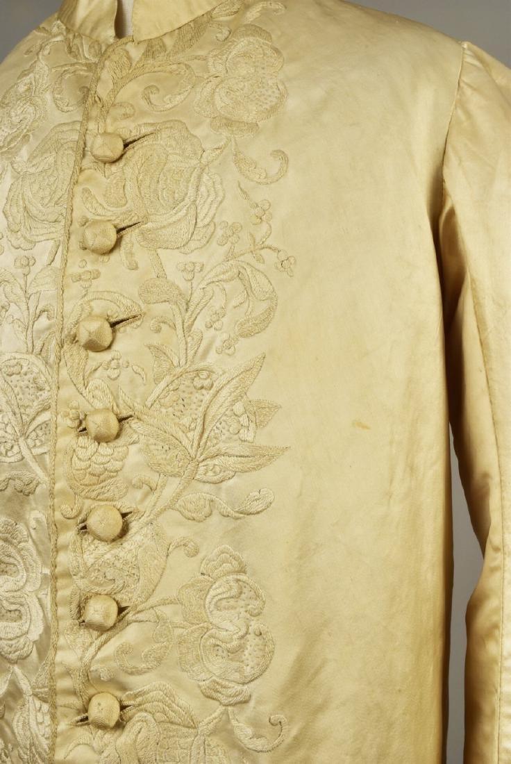 GENTLEMAN'S SATIN EMBROIDERED WEDDING COAT, 1740s - 3