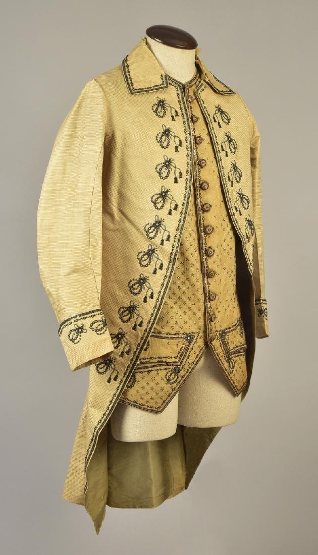 GENTLEMAN'S EMBROIDERED COAT and WAISTCOAT, 1780s