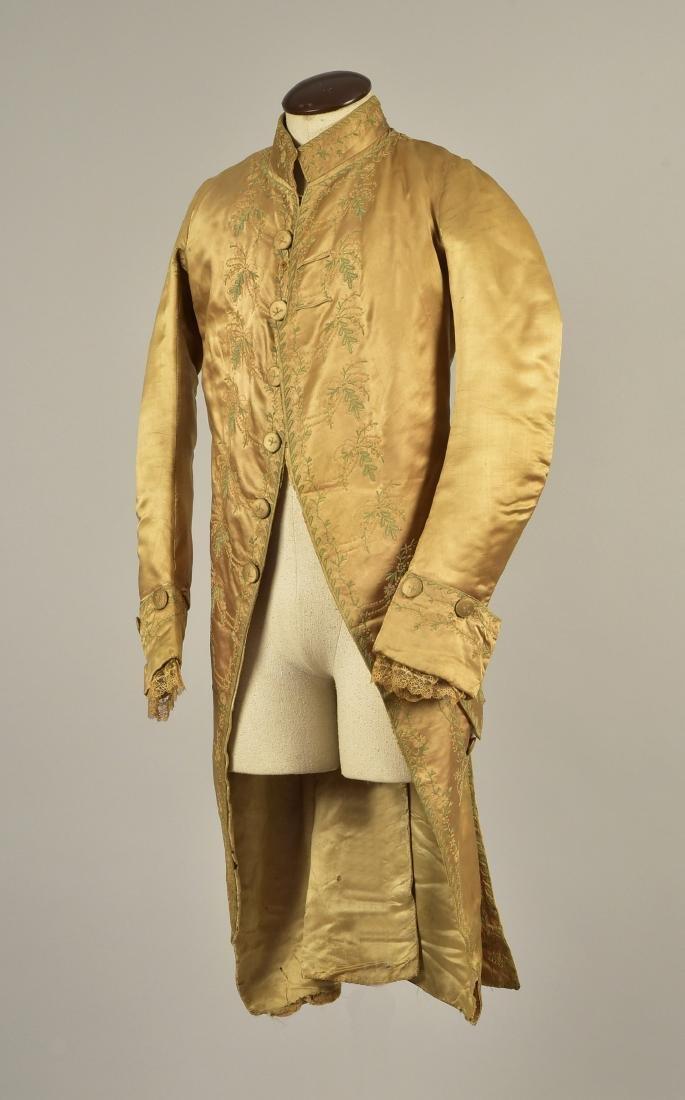 GENTLEMAN'S  EMBROIDERED SATIN COAT, 1785