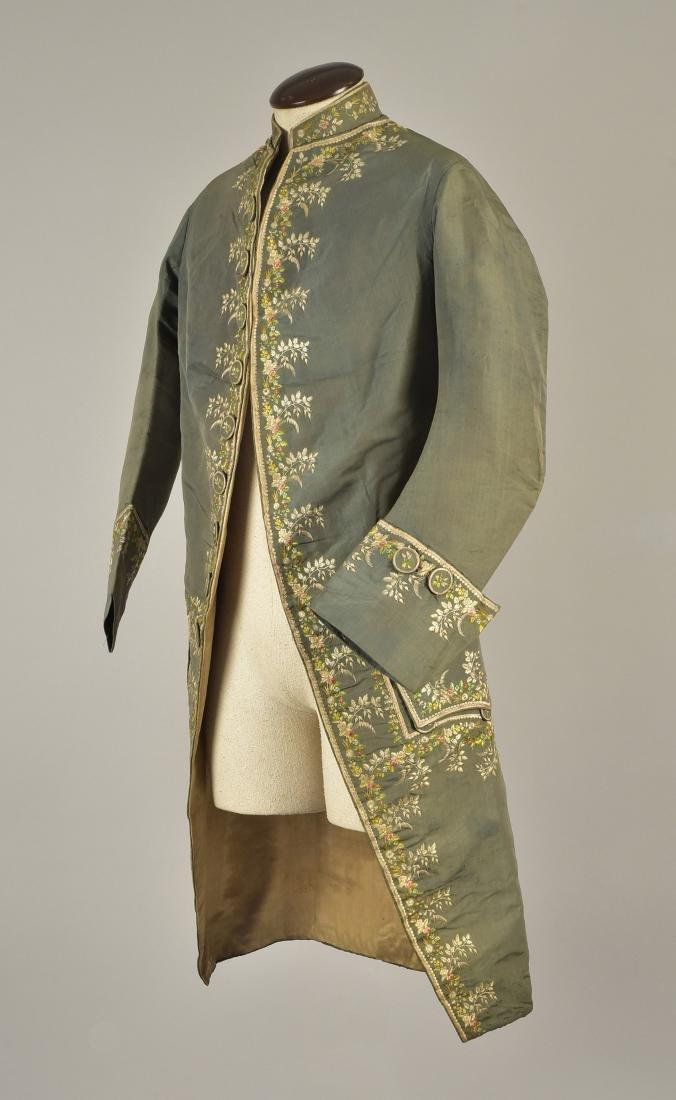 GENTLEMAN'S SILK EMBROIDERED COAT, 1780s