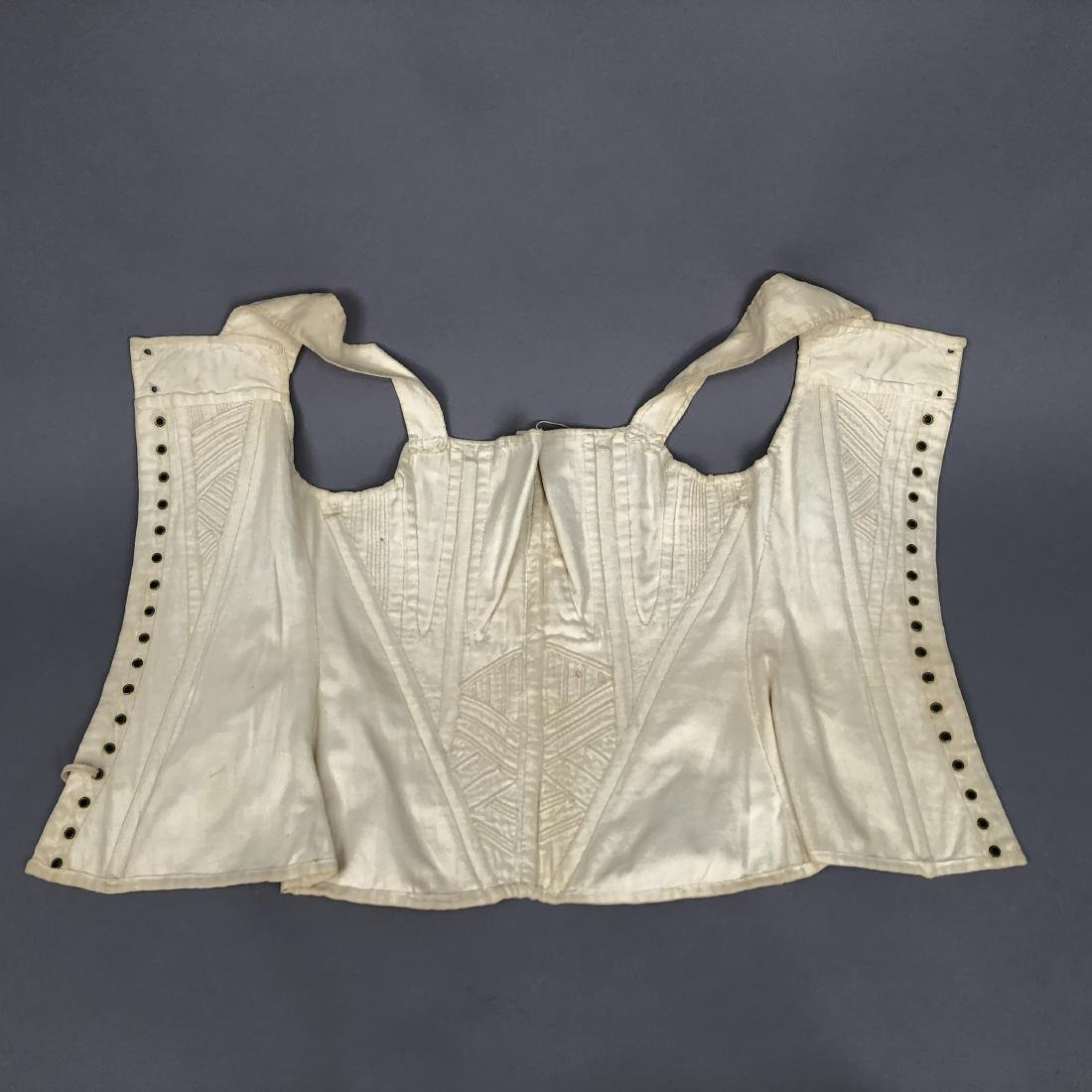 TWO WHITE COTTON CORSETS, 1825 - 1835 - 10