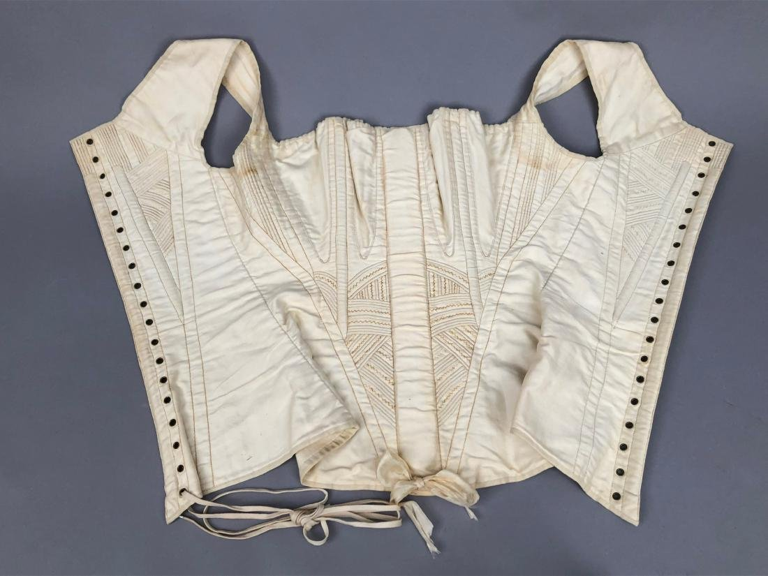 TWO WHITE COTTON CORSETS, 1825 - 1835 - 2