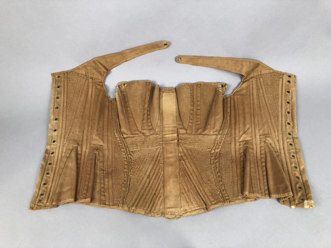 BROWN COTTON SATEEN CORSET, c. 1835 - 5