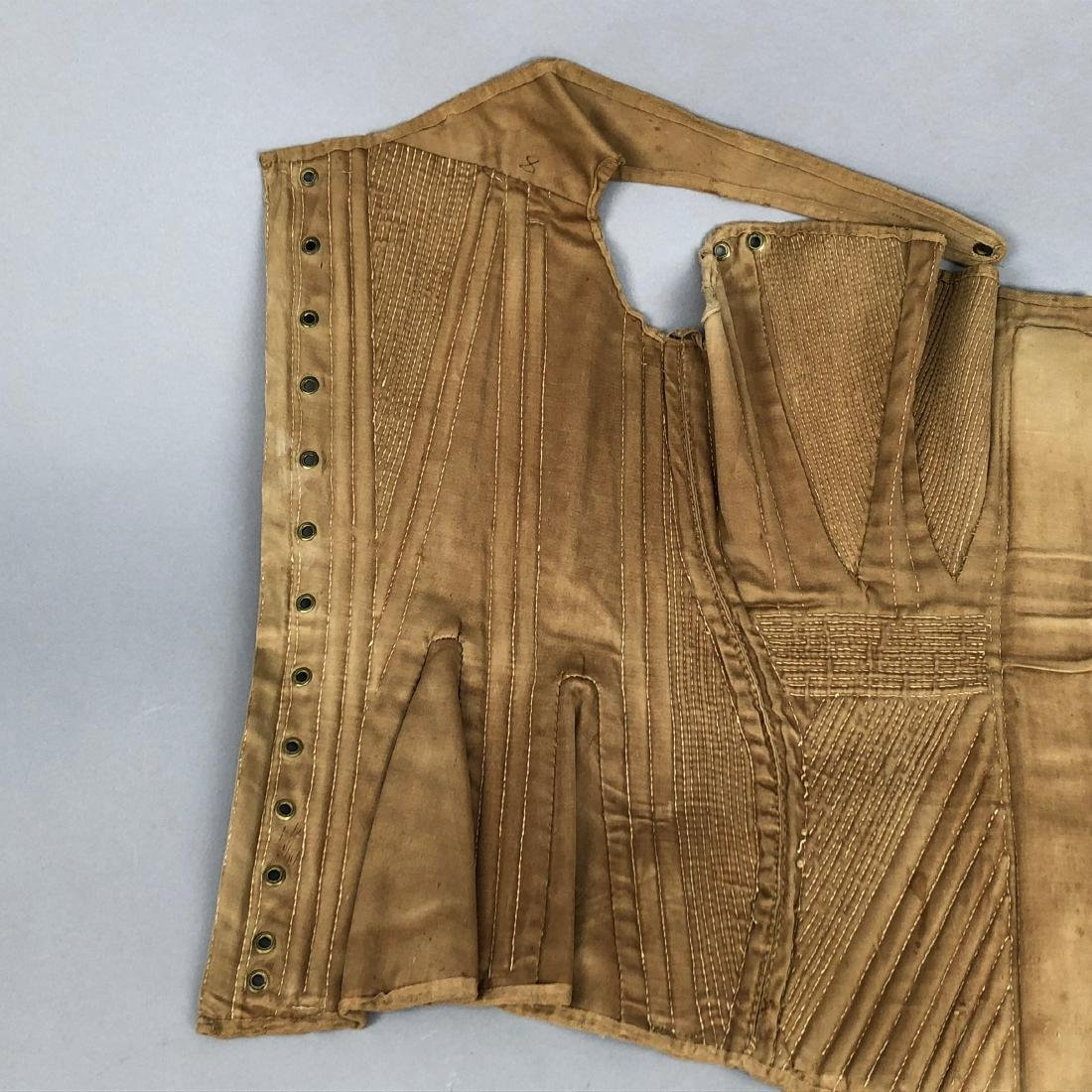 BROWN COTTON SATEEN CORSET, c. 1835 - 7