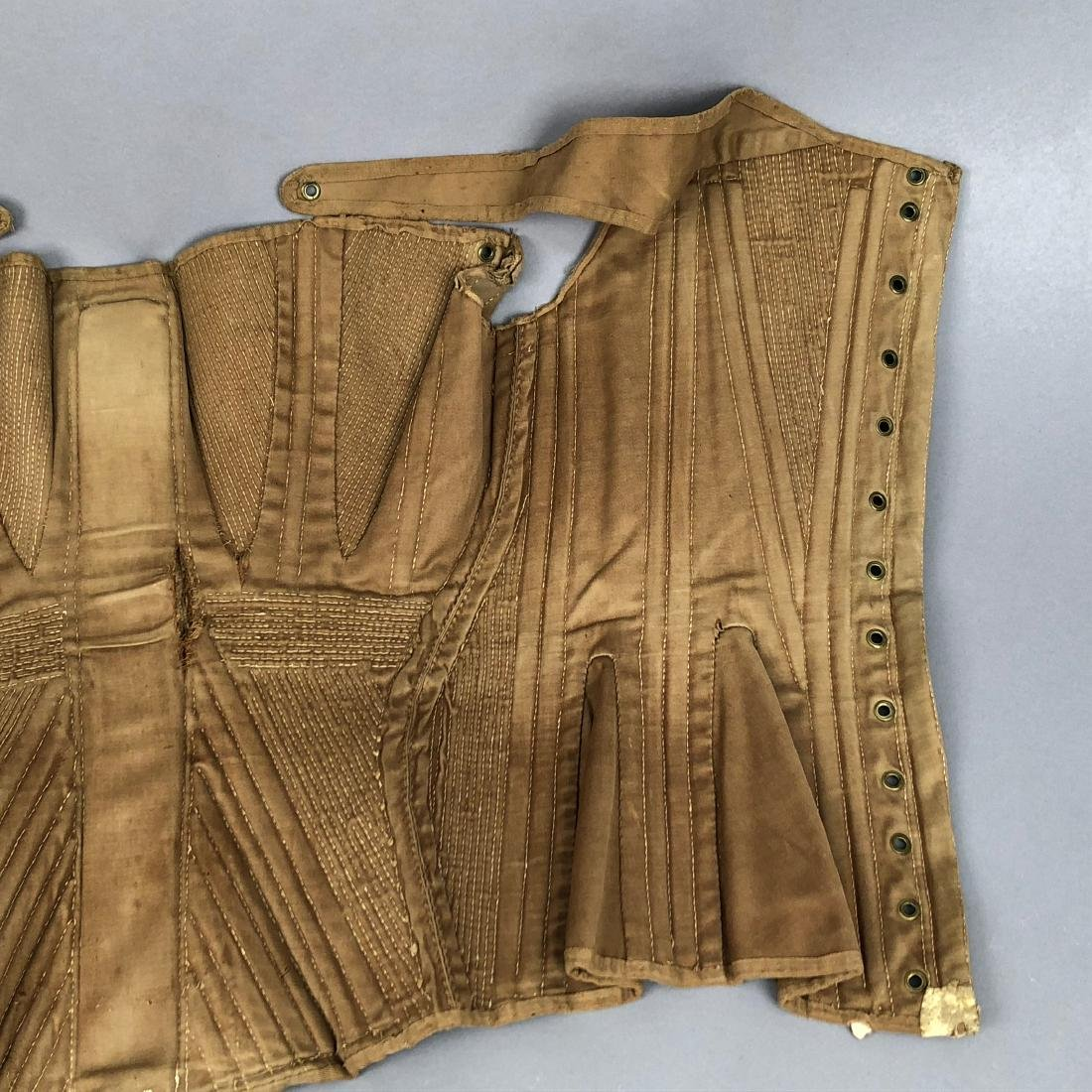 BROWN COTTON SATEEN CORSET, c. 1835 - 8