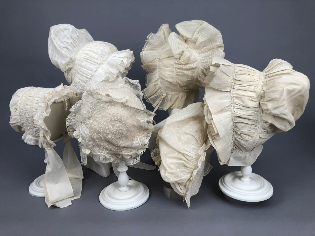 SIX RUFFLED WHITE COTTON CAPS, 1800 - 1830