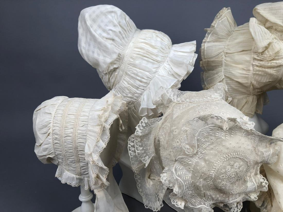 SIX RUFFLED WHITE COTTON CAPS, 1800 - 1830 - 2
