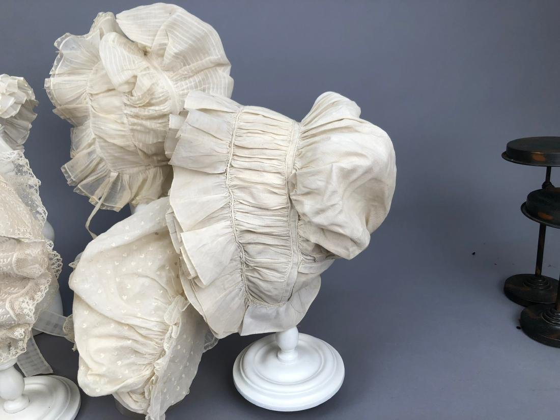 SIX RUFFLED WHITE COTTON CAPS, 1800 - 1830 - 3