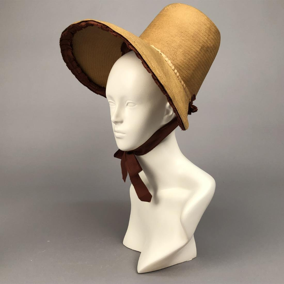 NATURAL LEGHORN STRAW BONNET, c. 1830