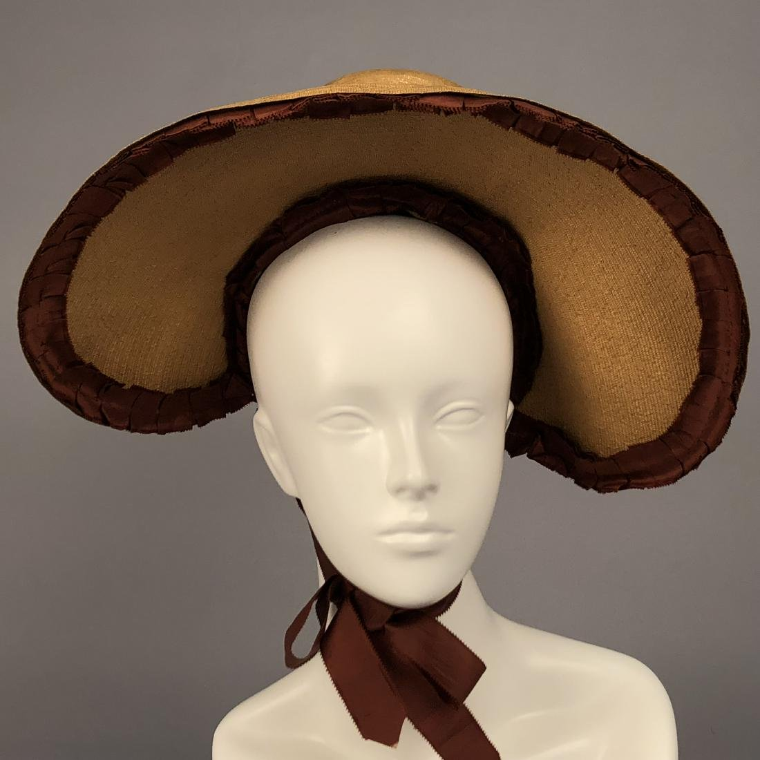 NATURAL LEGHORN STRAW BONNET, c. 1830 - 2