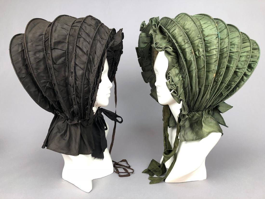 TWO COLLAPSIBLE SILK CALASHES, 1830s
