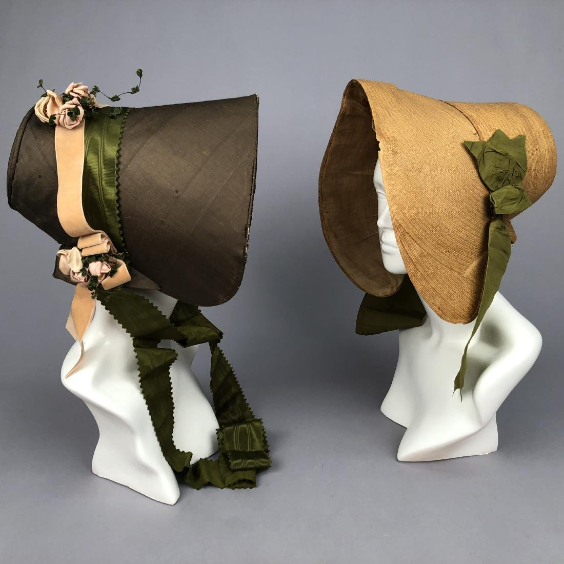 TWO BONNETS with RIBBON TRIM, 1830s
