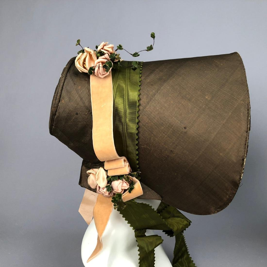 TWO BONNETS with RIBBON TRIM, 1830s - 2