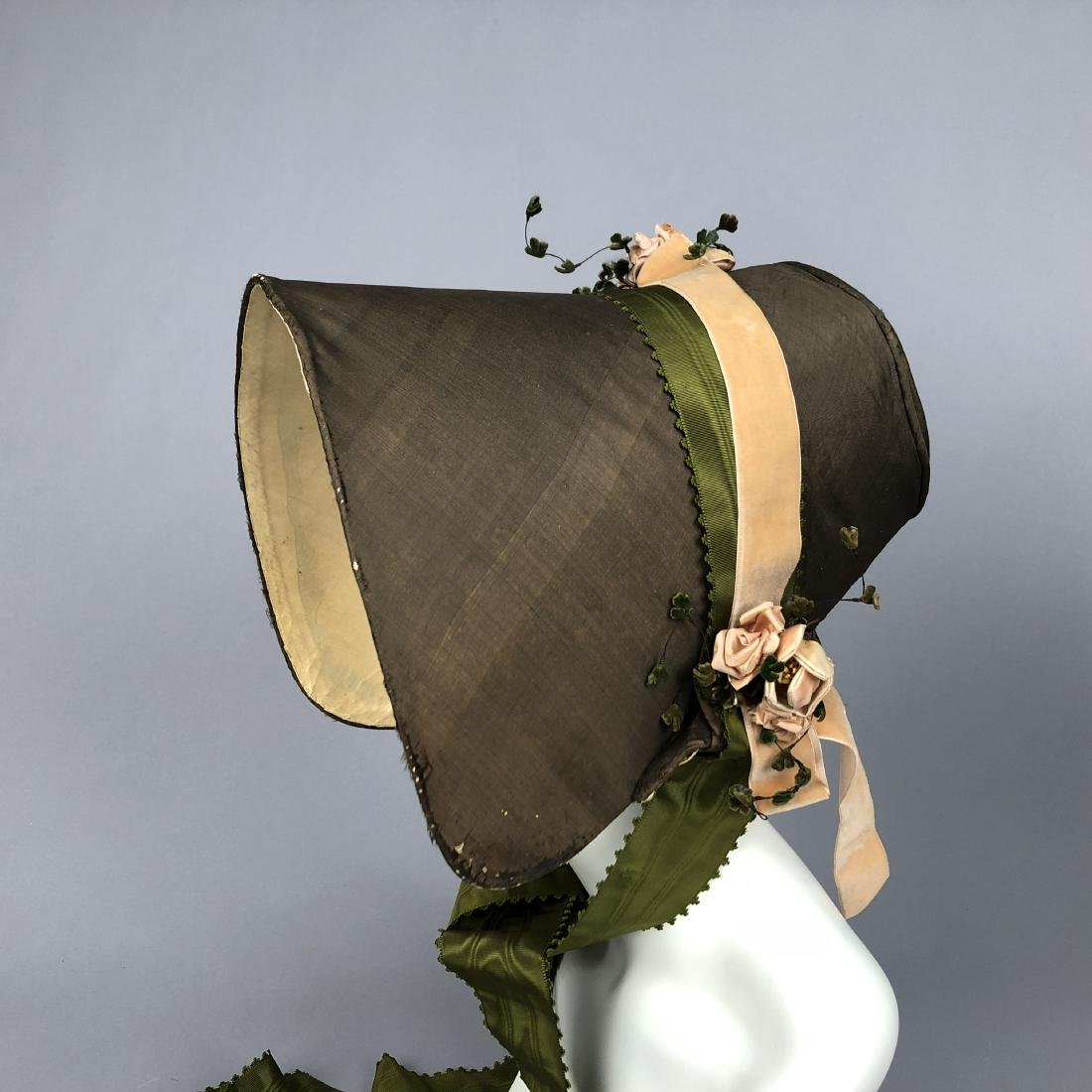TWO BONNETS with RIBBON TRIM, 1830s - 4
