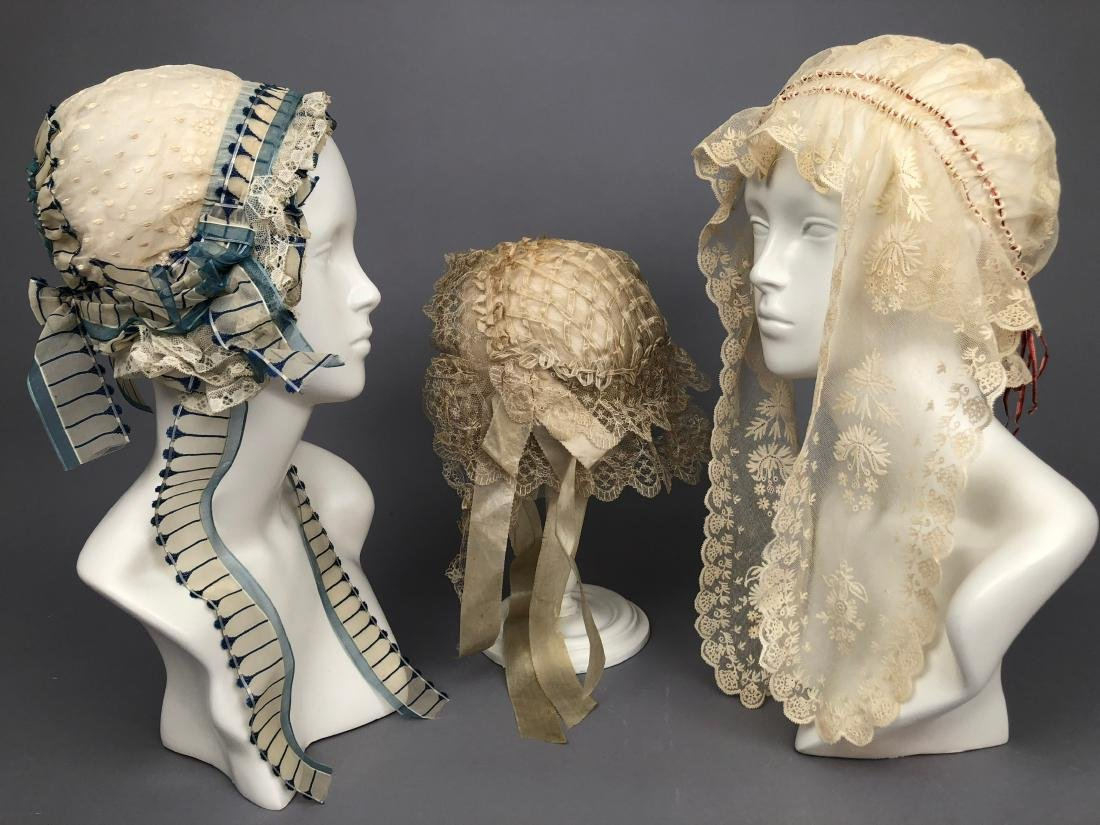 THREE FANCY WHITE INDOOR BONNETS, 1830s - 1840s