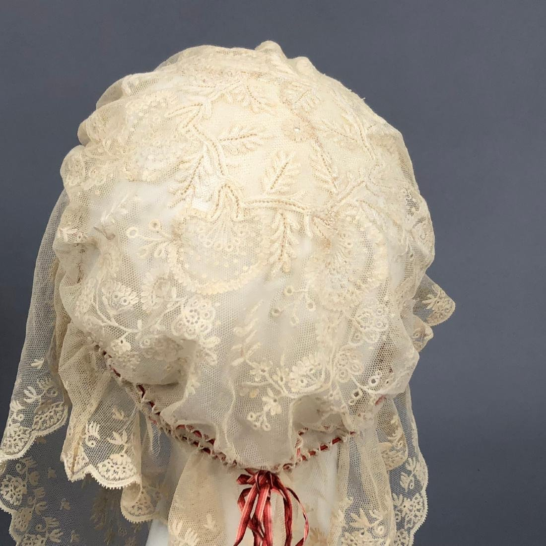 THREE FANCY WHITE INDOOR BONNETS, 1830s - 1840s - 2
