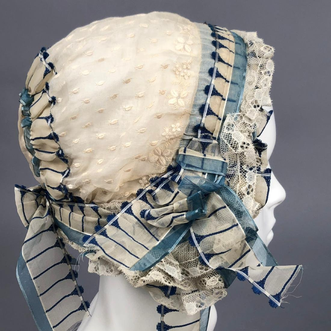 THREE FANCY WHITE INDOOR BONNETS, 1830s - 1840s - 4
