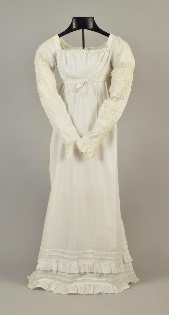 WHITE COTTON DRESS with CORDING, c. 1800